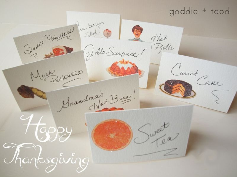 gaddie and tood free vintage thanksgiving food markers