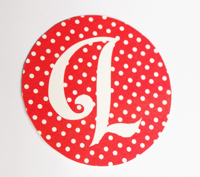free red and dot alphabet banner to print